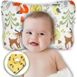 Baby Head Shaping Pillow - Flat Head & Reflux Prevention for Newborn Infants – Organic Cotton Hypoallergenic – 3D Breathable