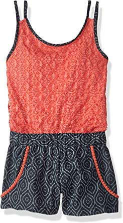 One Step Up Girls Little Girls Printed Chambray Romper