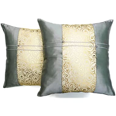 Set of Two Metallic Silver Silk Throw Cushion Pillow Covers Gold Print Middle Stripe for Decorative Living Room, Bed room Sofa Car Size 16 x16 Inches by Moose546