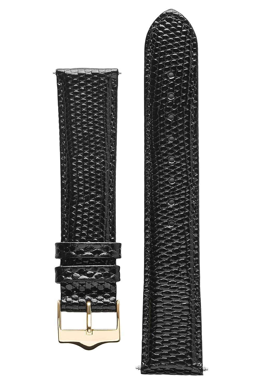 Signature Dragon腕時計バンド。交換用時計ストラップ。Genuineレザー。ゴールドバックル 24 mm ブラック B01N4GLP6Aブラック 24 mm
