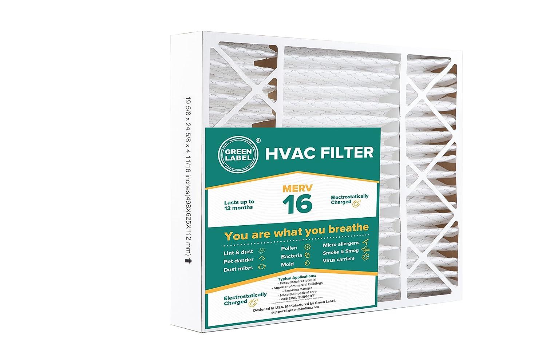 Green Label HVAC Air Filter 20x25x5, AC Furnace Air Ultra Cleaning Filter MERV 16 - Single