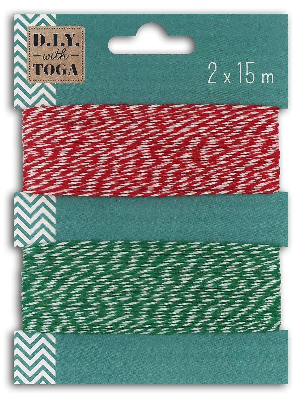 toga 2 ficelles bicolores bakers twine 15m rouge et vert coton