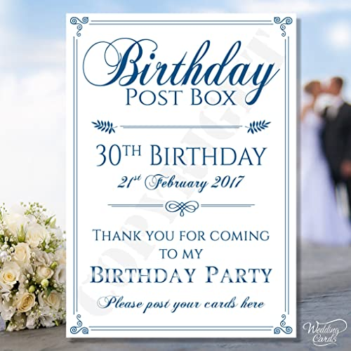 Personalised Birthday Party Post Box Card Sign Gift