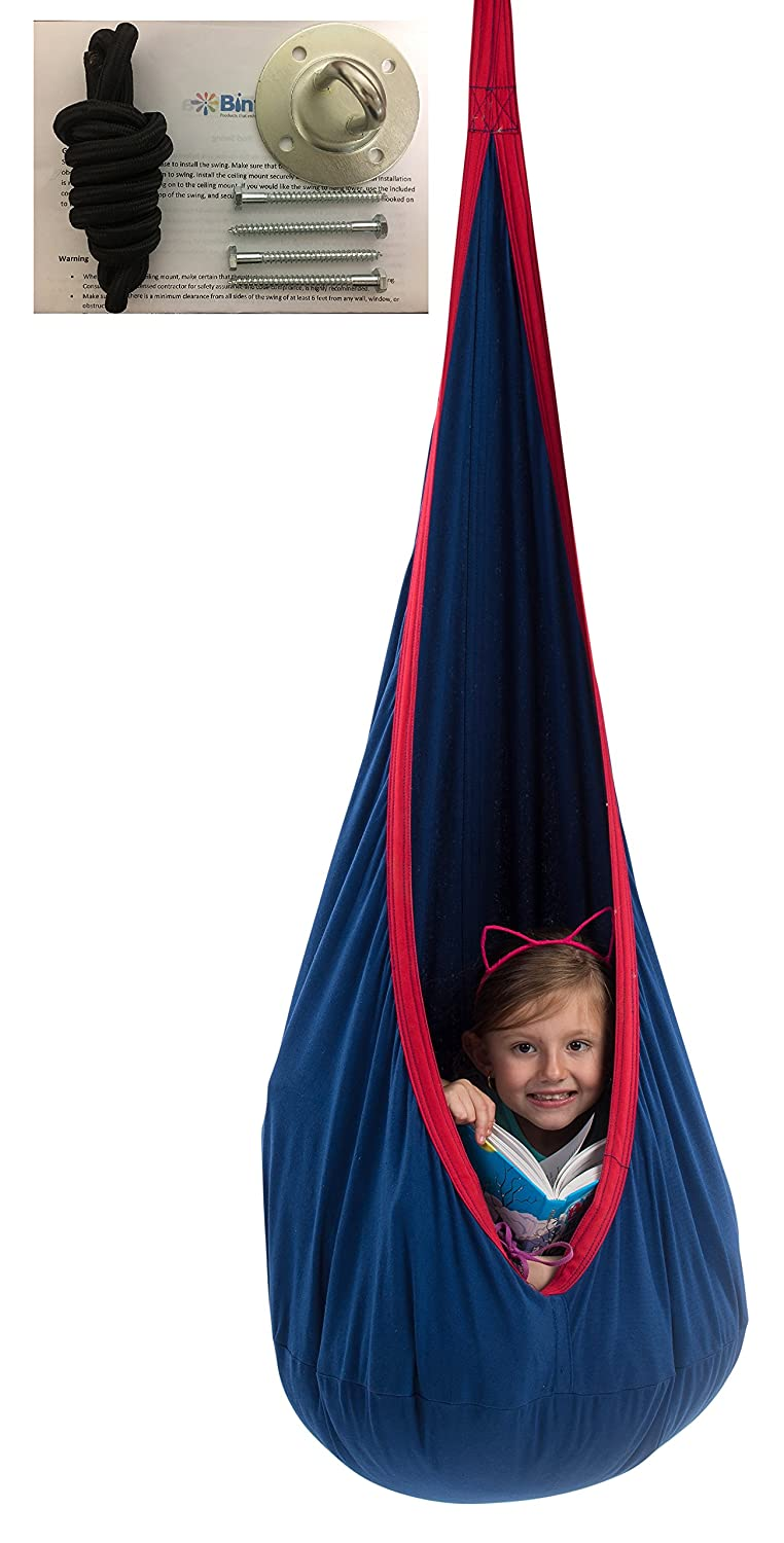 bintiva Child Pod Swing – Indoor Sensory Hammock – Including All Hardware Accessories – With A Fluffy Removable Cushion Not Inflatable Cushion