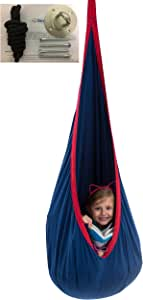 bintiva Child Pod Swing - Indoor Sensory Hammock - Including All Hardware Accessories - With A Fluffy Removable Cushion (Not Inflatable Cushion)