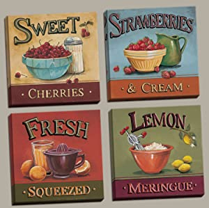 wallsthatspeak 4-Dessert Fruit Kitchen Art Prints, Sweet/Cherries/Strawberries/Lemons; Kitchen Decor, Four 12 by 12-Inch Canvases; Ready to Hang!
