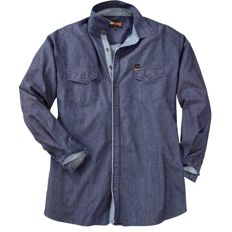 14c27770f650 KAMRO Trendiges Jeanshemd mit Dezentem Muster, Langarm  Amazon.de   Bekleidung
