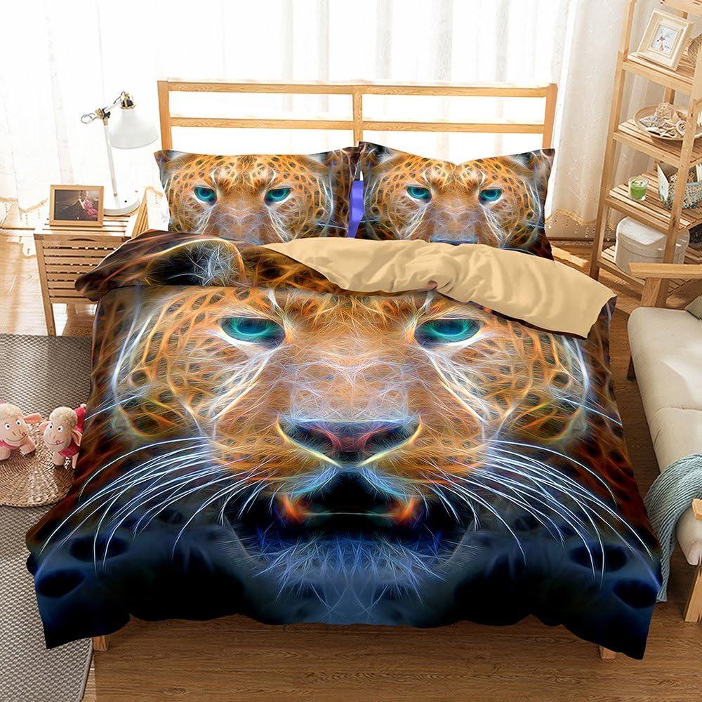 Helengili 3D Digital Printing Bedding Set Snow Leopard Bedding Bedclothes Duvet Cover Sets Bedlinen 100 Percent Microfiber Present Full