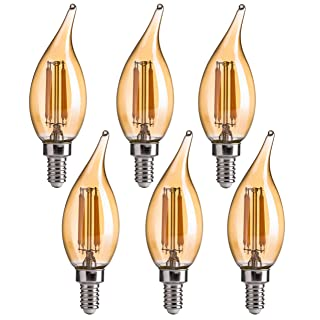 CA11 E12 LED Candelabra Bulbs, FLSNT Dimmable LED Chandelier Light Bulbs, 4.5W(40W Equivalent),2200K Warm White,CRI80,330LM,Amber Glass Finishing,6 Pack