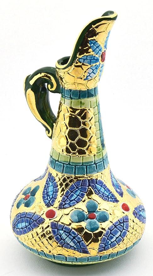 Art Escudellers Jarra Ceramica Pintada a Mano con Oro de 24K, Decorado al Estilo BIZANTINO