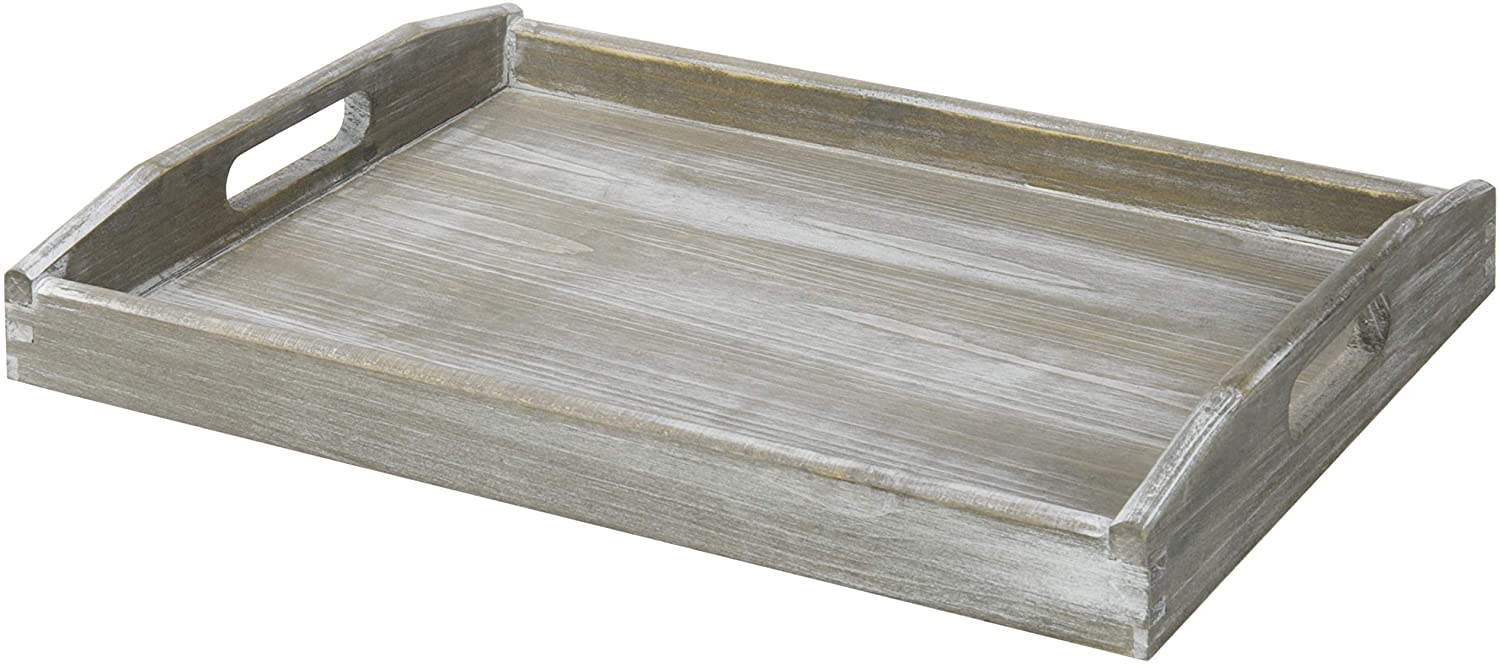 MyGift Rustic Grey Wood Serving Tray with Handles