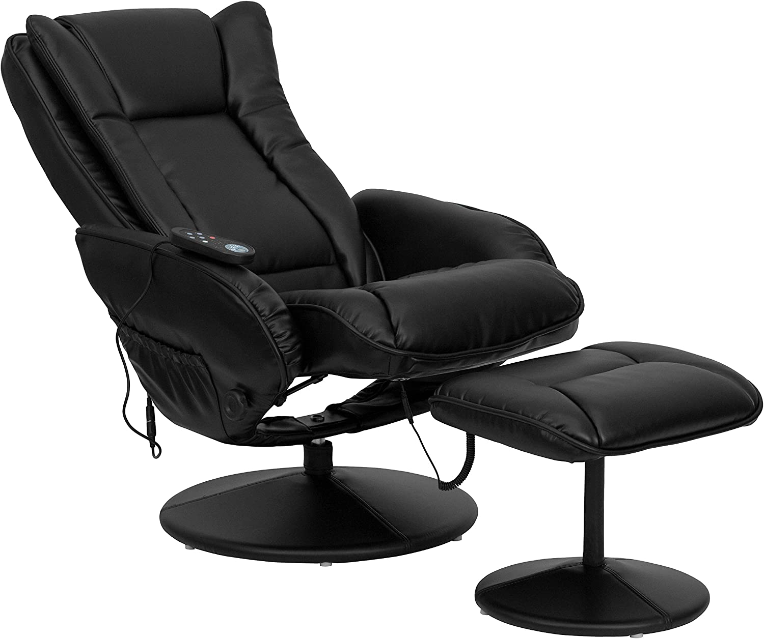 Flash Furniture Massage Leather Recliner reclined
