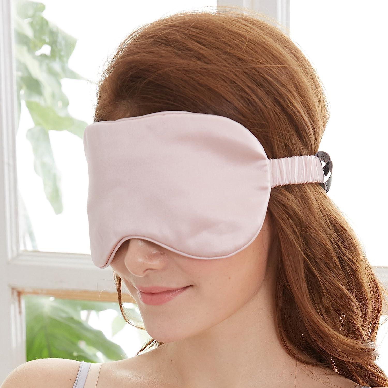 YUNS Advanced 19 Momme Mulberry Silk Sleep Mask, Both Sides Silk, Silk Covered Elastic Band, Big Size 22X10cm, Anti-Aging, Anti-Eye Wrinkles, Light-Blocking, 1pc.(Lotus Pink)