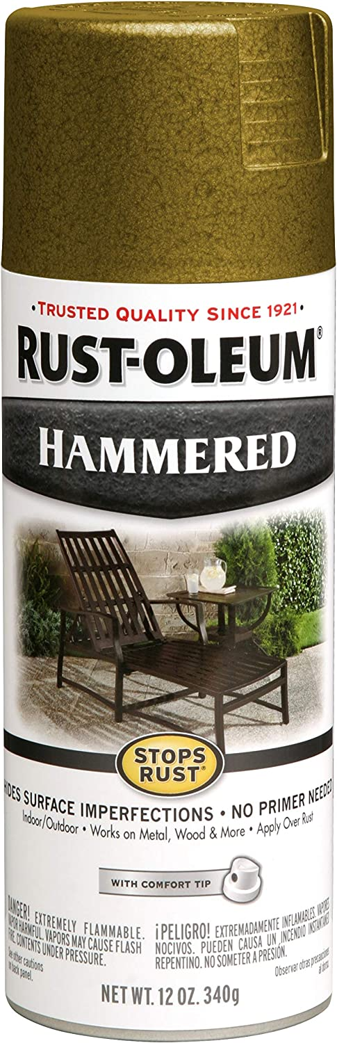 Rust-Oleum 7210830 Stops Rust Hammered Spray Paint, 12 Oz, Gold, 12 Fl Oz
