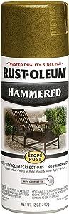 Rust-Oleum 7210830 Stops Rust Hammered Spray Paint, 12 Oz, Gold, 12 Fl Oz