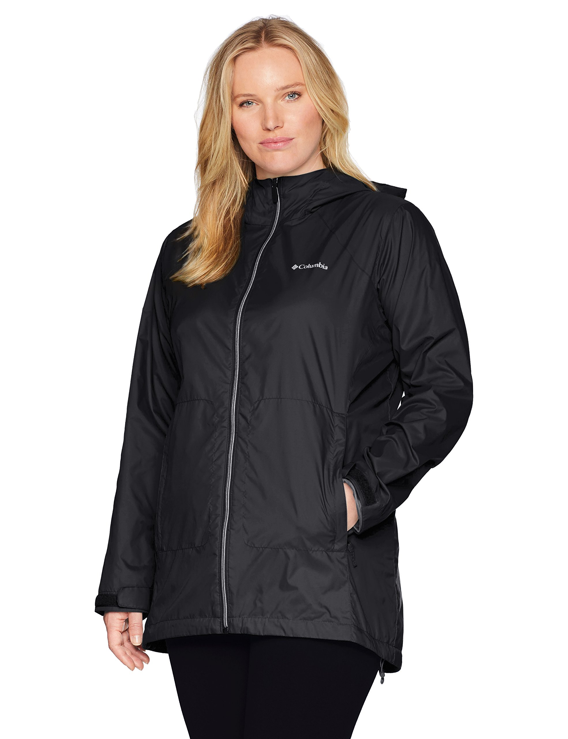 Columbia Women's Plus Size Switchback Lined Long Jacket, Black, 2X