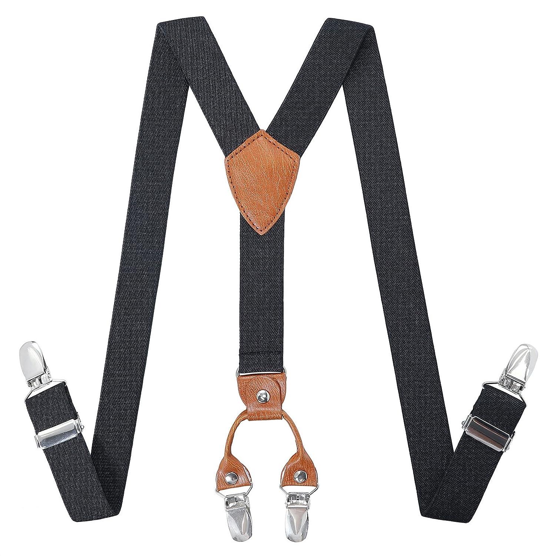 Black, 31.5-33.5 Inch Toddlers Boys Kids Adjustable Suspenders 8 Years - 5 Feet Tall Y Back Heavy Duty Suspenders for School Uniforms Tuxedos