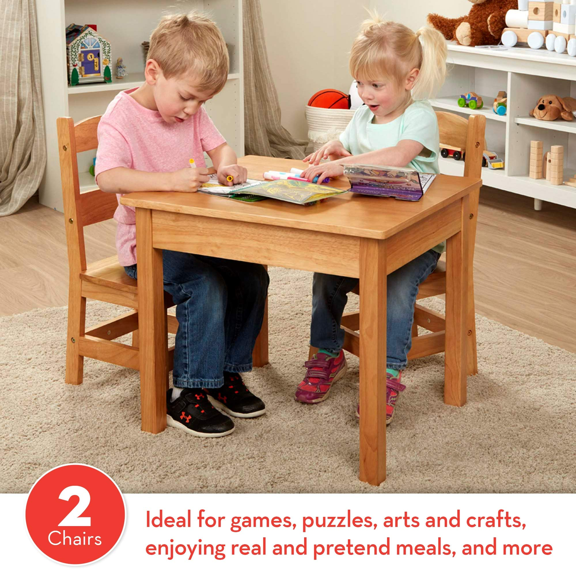 Melissa & Doug Wooden Table and 2 Chairs – Natural