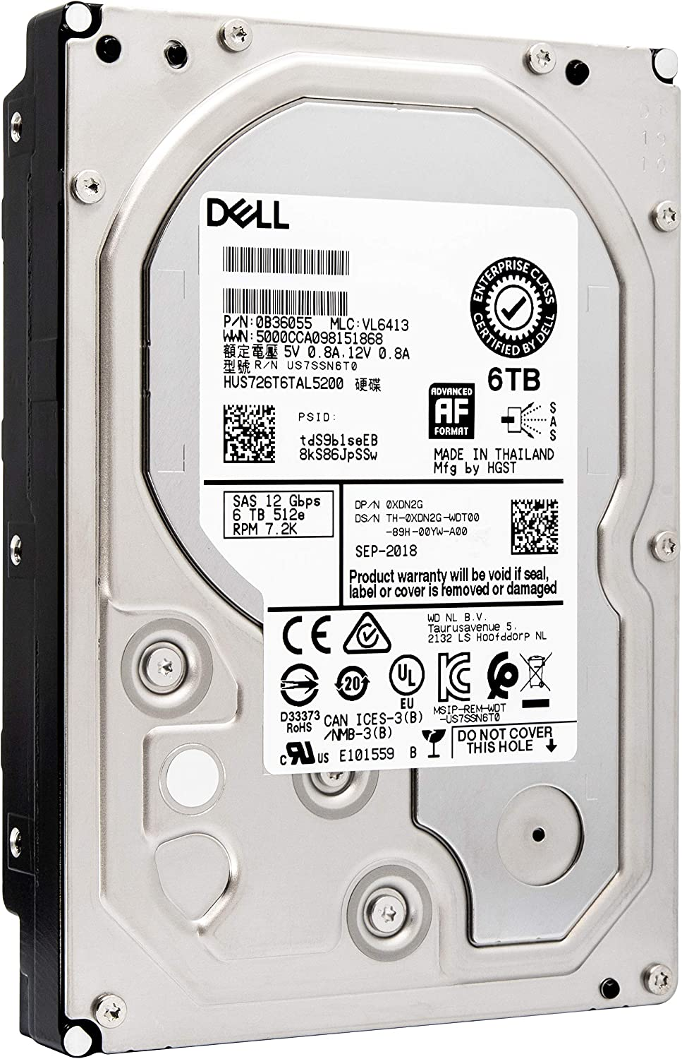 Dell XDN2G 0XDN2G 6TB SAS 12Gb/s 3.5-Inch LFF 7.2K RPM Bare HDD | Hitachi Enterprise Data Center Hard Drive | HUS726T6TAL5200 | No Tray | Bundle with Compatily Carrier-Install Screwdriver Kit