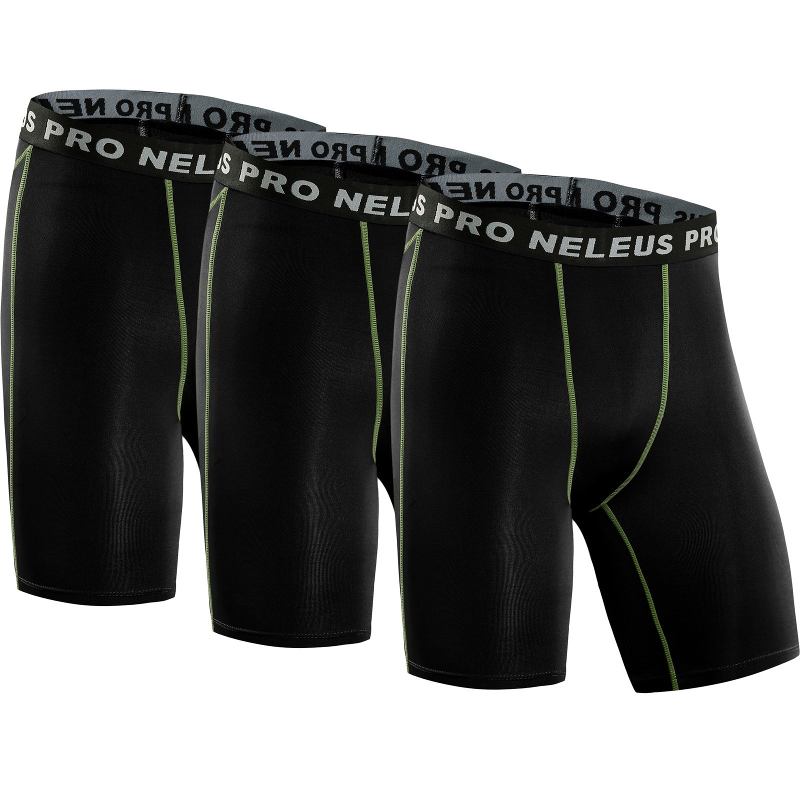 Neleus Men's 3 Pack Compression Short,047,Black,US XS,EU S