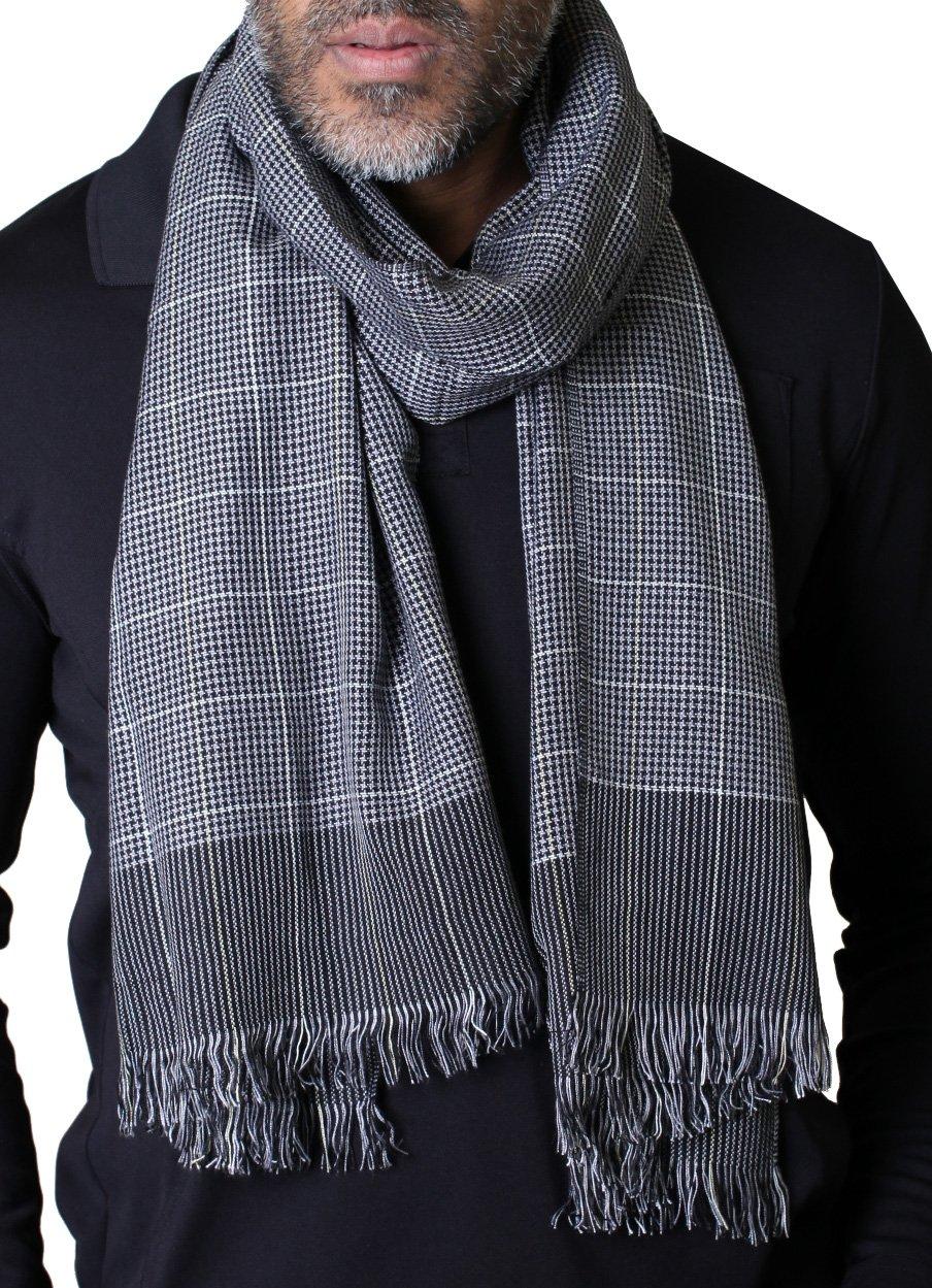 Anika Dali Men's Vincent Classic Slim Grey Check Plaid Scarf, Lightweight & Soft
