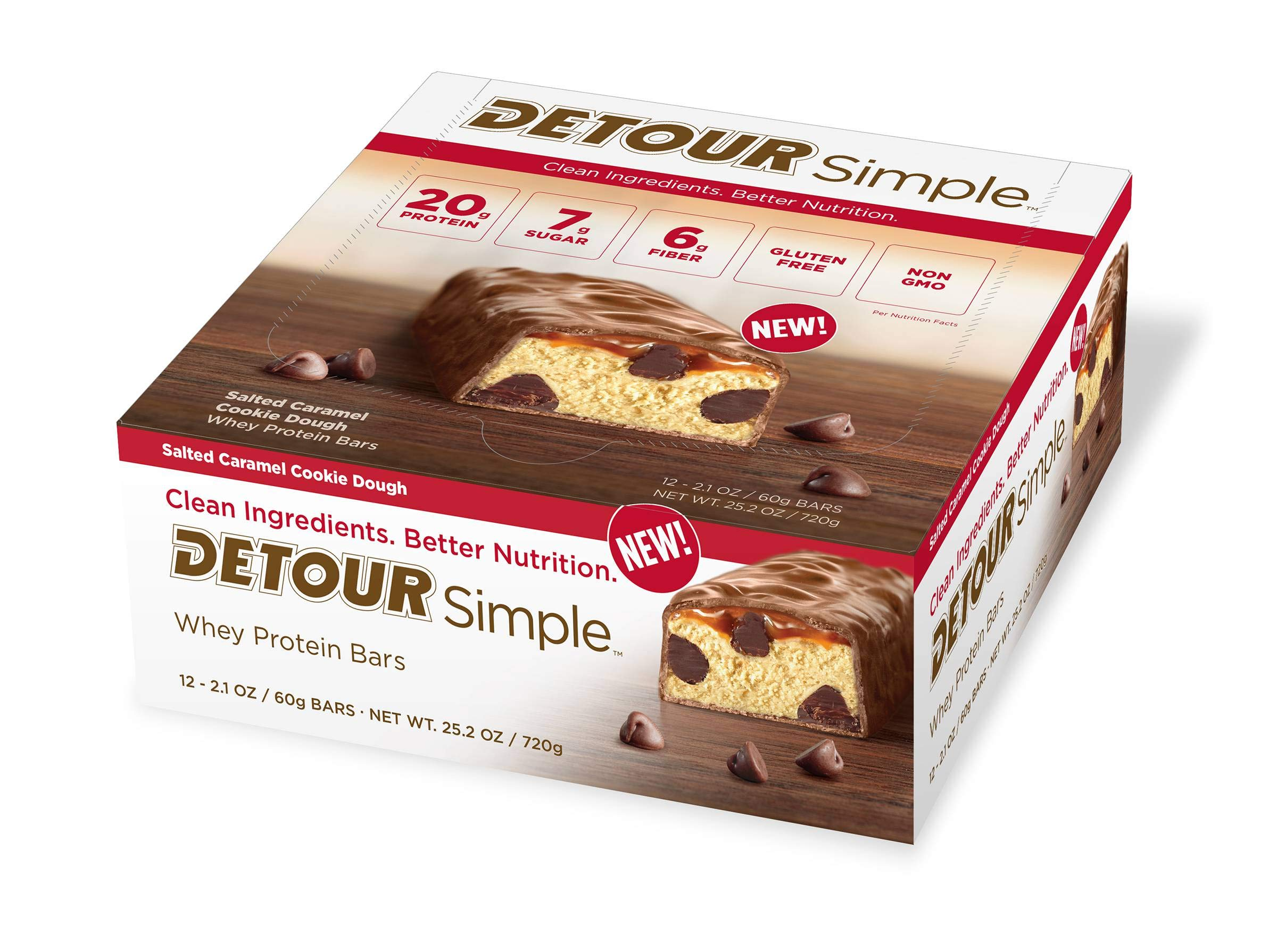 Detour Simple Salted Caramel Whey Protein Bar, 60 Gram - 48 per case.