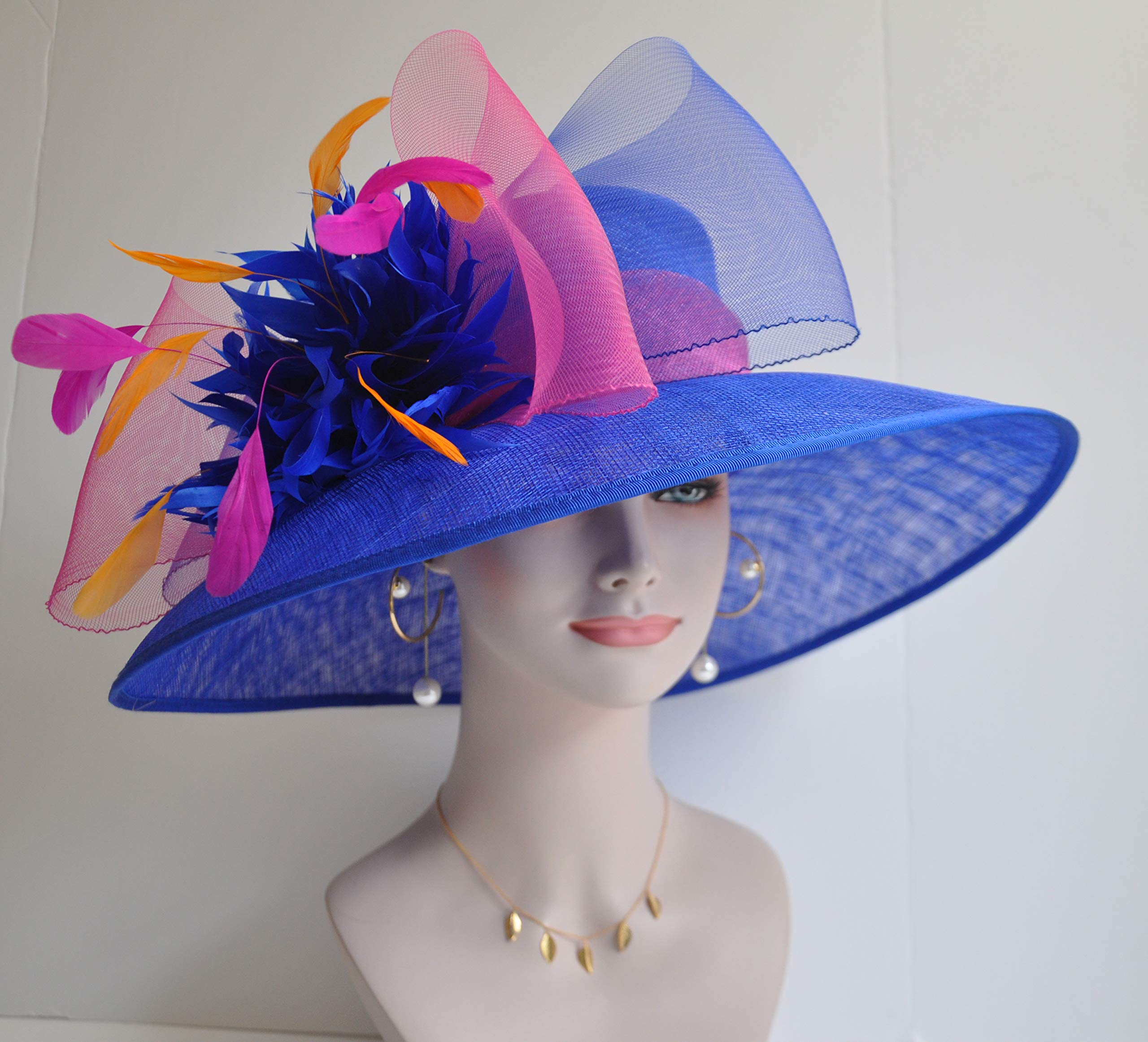 Wide Brim Kentucky Derby Sinamay hat with Feather Flowers Royal Blue with hot Pink and Orange by ray&daniel (Image #2)