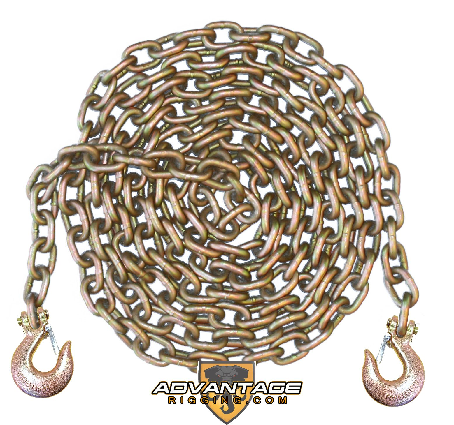 1/2 Inch 10 Foot Feet Grade 70 Transport Binder Chain with Slip Hooks and Latch
