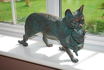 Madre gato y gatito jardín Estatua. Fundido en resina con un acabado en bronce envejecido: Amazon.es: Jardín