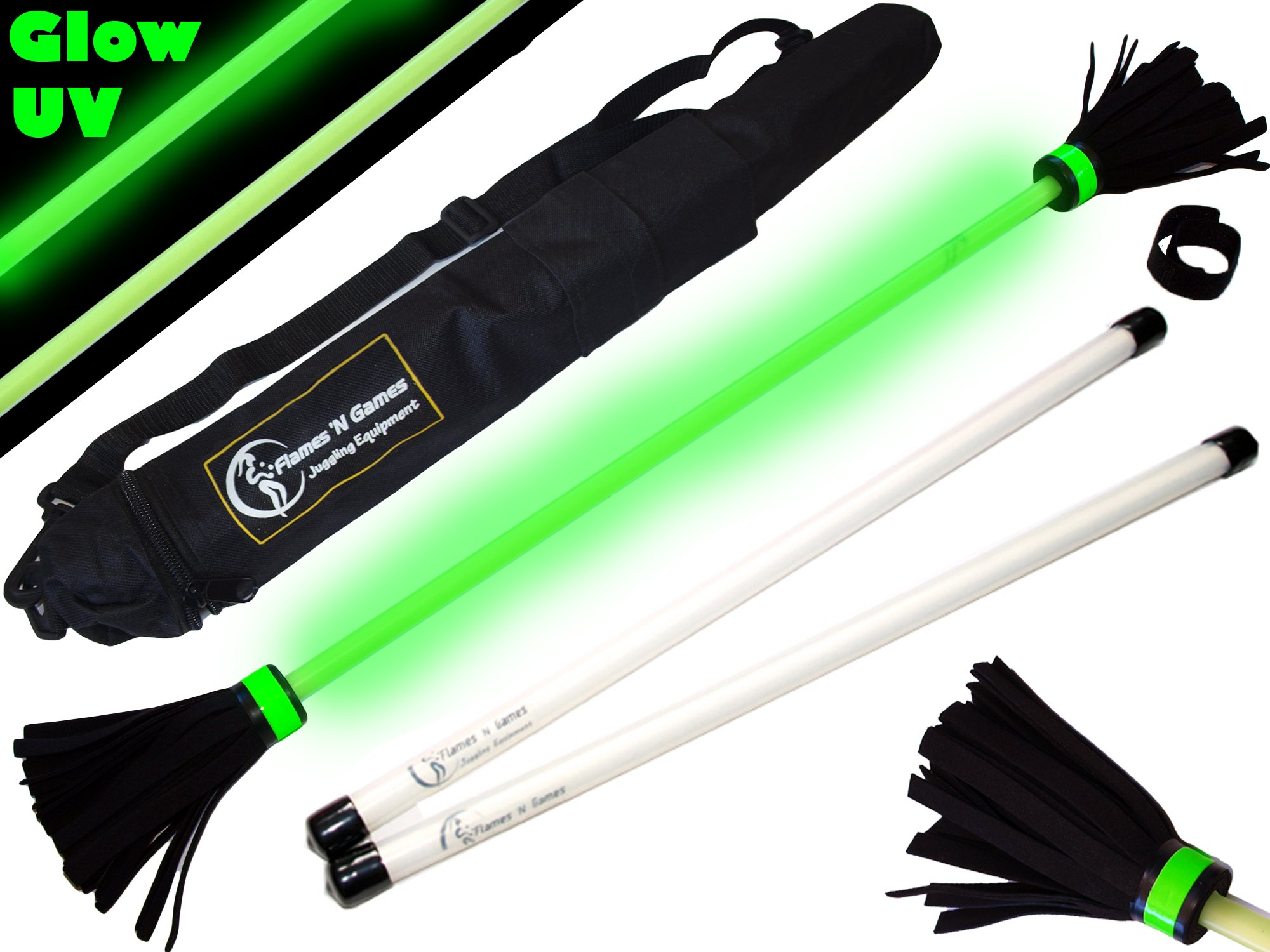 Flames N Games MOONSHINE (Glow In The Dark) Flowerstick Set + FIBREGLASS Handsticks + Travel Bag! Ideal Flower stick Set for Beginners & Pro's! by Flames N Games Devil Sticks/Flower Sticks