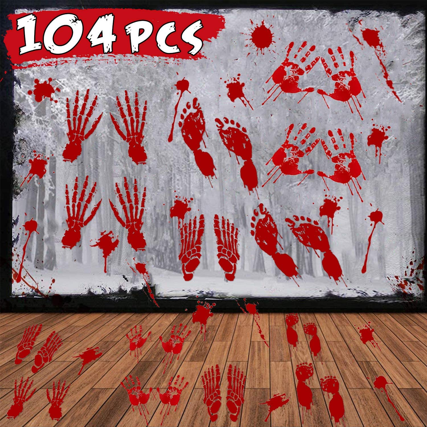 104Pcs Halloween Party Decoration Stickers Halloween Window Decals Horror Bloody Handprints Footprints Floor Stickers Vampire Zombie Party Decorations Supplies Scary Decals 8 Sheet (25x35 inch)