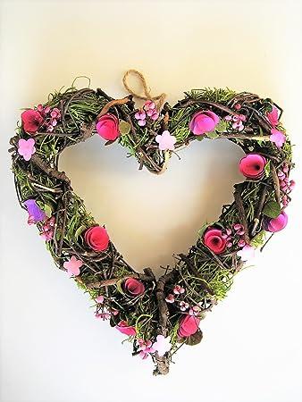 Türkranz Herz Rosen Frühling Muttertag Dekokranz Hochzeit LOVE Tischkranz Rot