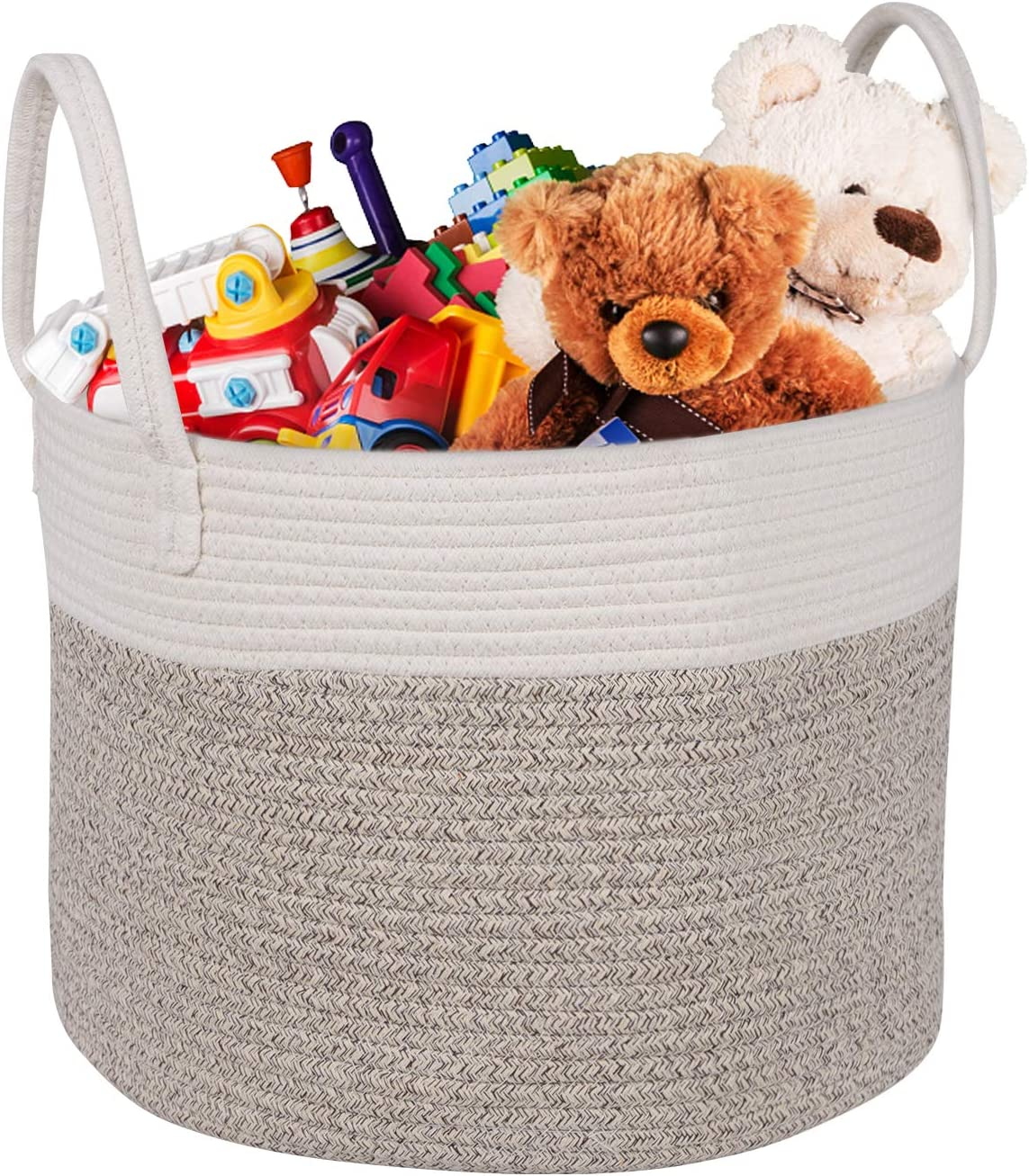 Cotton White-Brown, 38x38x30cm Jooli H Laundry Basket Drawstring Hamper Fabric Collapsible Storage Bin with Handles