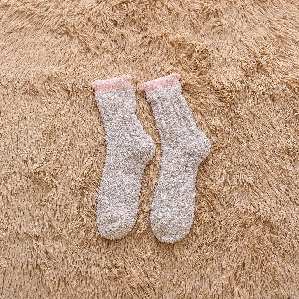Hopwin Women Warm Winter Floor Socks Girl Super Soft Fluffy Crew Sock Cozy Anti Slip Casual Fleece Socks