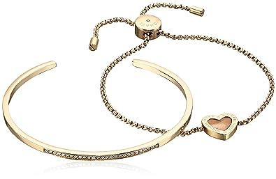b0d4021396bea Amazon.com  Michael Kors Gold-Tone Cuff and Slider Bracelet Jewelry Set   Jewelry