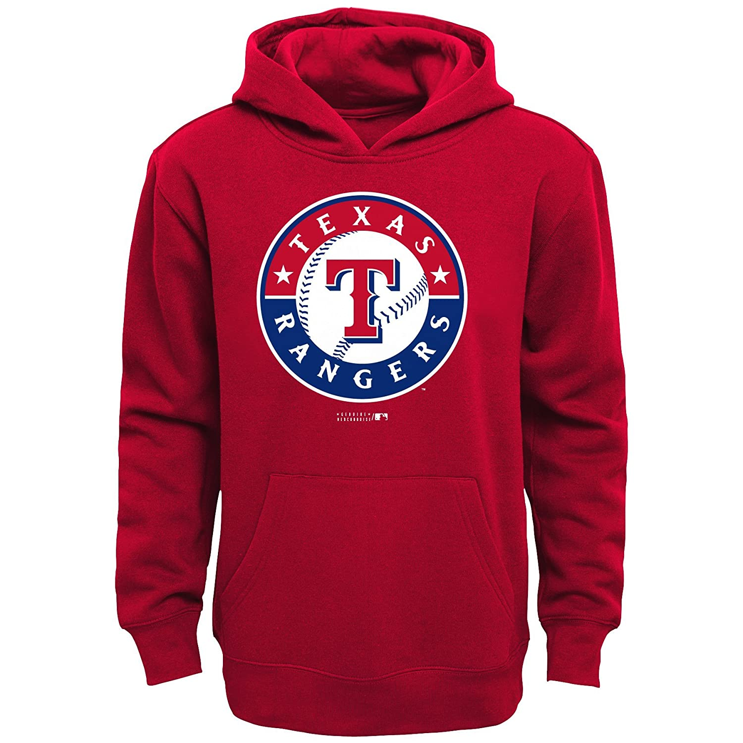 Athletic Red MLB Texas Rangers Boys Primary Logo Fleece Hoodie Size 18