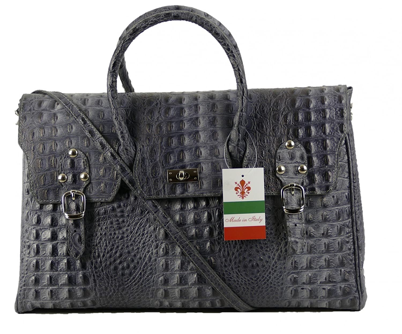 91a7e3cbb1 Made In Italy Luxury Designer Women s Handbag Hobo Cube XL Bag Alligator  Grain Thick Leather Nubuck Grey Black  Amazon.co.uk  Luggage