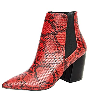 c6bd295885cf0 Amazon.com | Themost Snakeskin Ankle Boots Womens Grey Snake Print Booties  Short Chunky Heel Boot Pointed Toe Shoes | Ankle & Bootie
