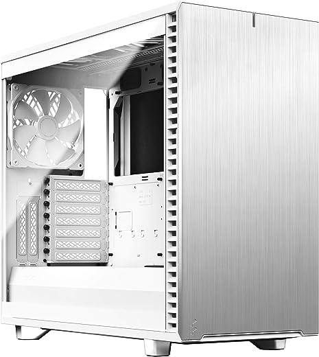 جراب كمبيوتر من الألومنيوم المصقول باللون الأبيض والصلب E-ATX - هيكل من الزجاج المقسى - اللون الأبيض - اللون الشفاف TG (FD-C-DEF7A-06)