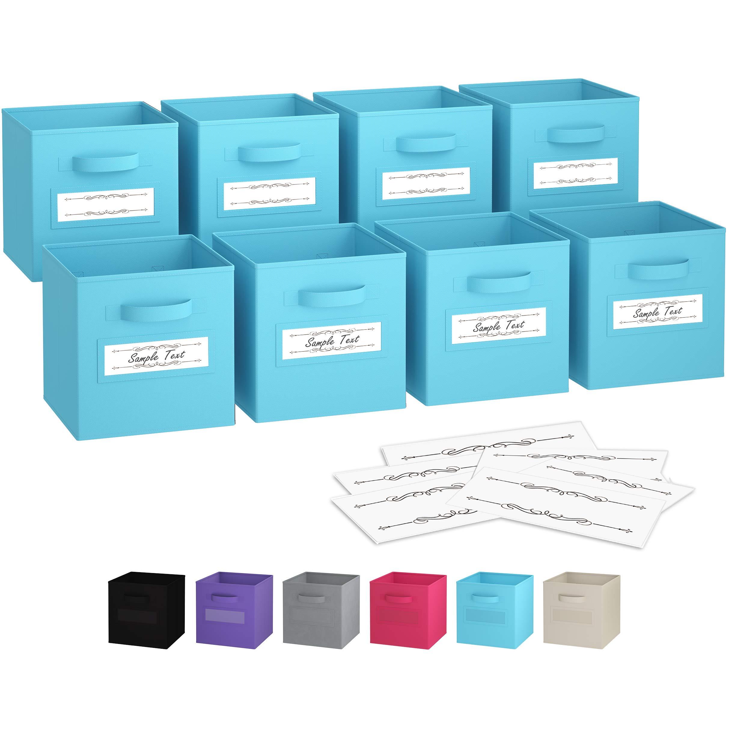 Royexe - Storage Cubes - (Set of 8) Storage Baskets | Features Dual Handles & 10 Label Window Cards | Cube Storage Bins | Foldable Fabric Closet Shelf Organizer | Drawer Organizers and Storage (Blue)