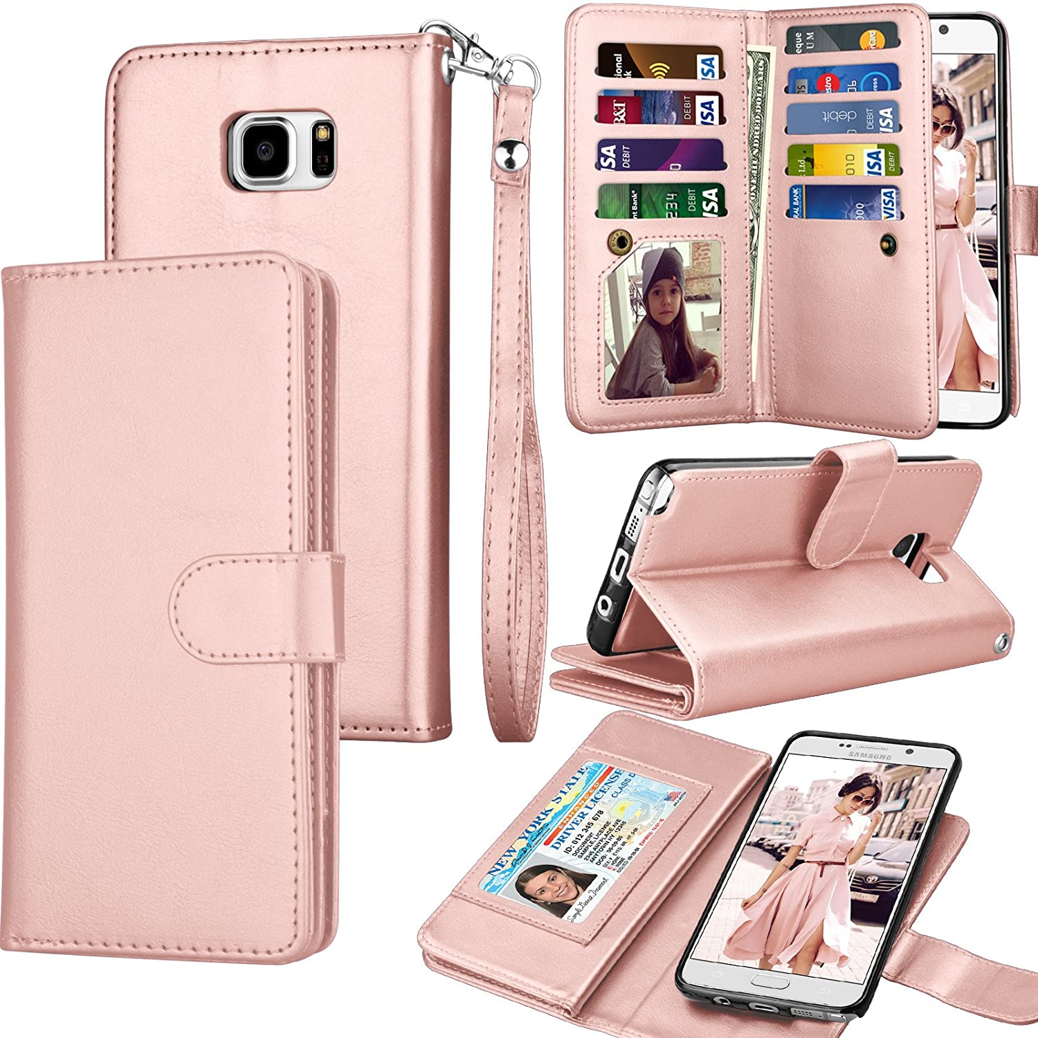 Tekcoo Compatible Galaxy Note 5 Wallet Case/Samsung Galaxy Note 5 PU Leather Case, Luxury Cash Credit Card Slots Holder Carrying Flip Cover [Detachable Magnetic Hard Case] & Kickstand -Rose Gold