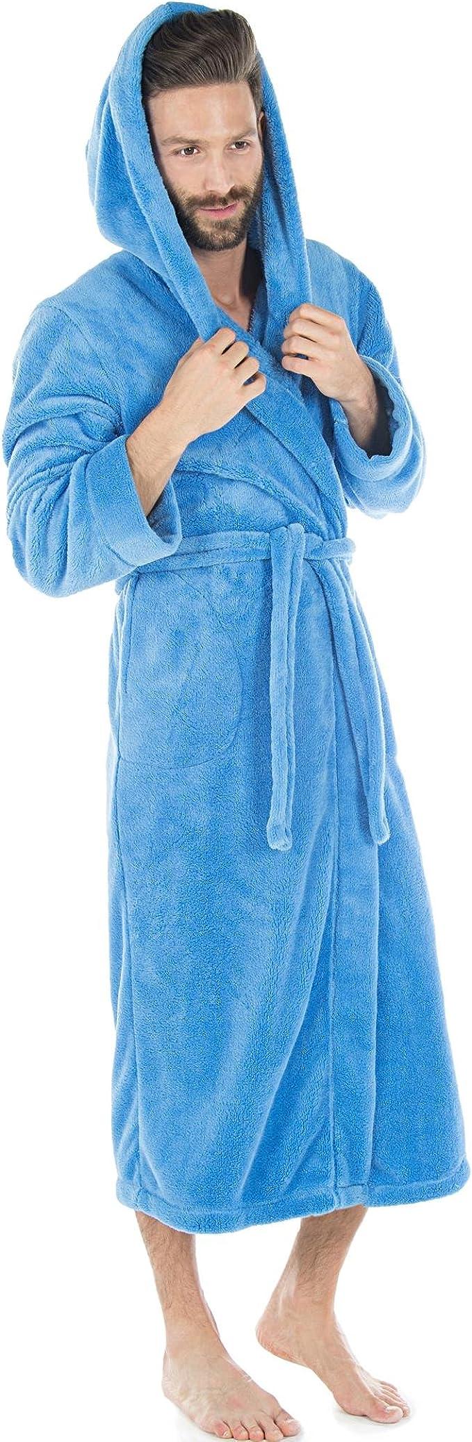 CelinaTex Miami Peignoir De Bain Court Microfibre Capuche Poches Appliqu/ées Femme De Deux Couleurs Laine Polaire de Corail XXXL Bleu fonc/é//Bleu m/édian
