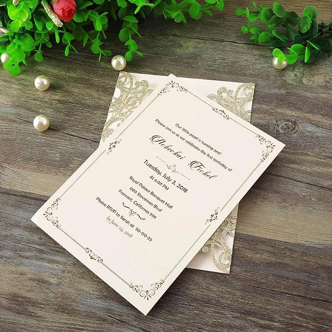 LORTAL 50X - Tarjetas de invitación Cortadas con láser de Purpurina con Lazo Floral para Invitaciones de Boda, Fiesta de cumpleaños, Baby Shower (Set de 50 ...