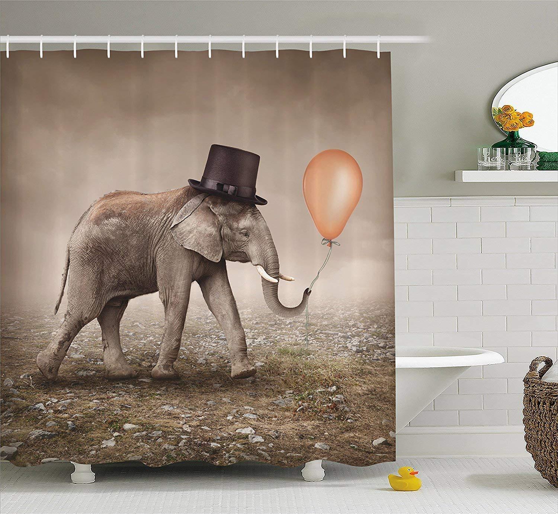 Diversión sexy werert with Surreal Art Decor Shower Curtain Set, Illusionist Elephant with werert Black Hat Magic Balloon,60 X 72 44f6b6