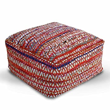 Homescapes Multi Coloured Square Cube Pouffe Traditional Chindi Simple Pouf Filling