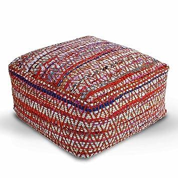 Homescapes Multi Coloured Square Cube Pouffe Traditional Chindi Simple Pouf Filling