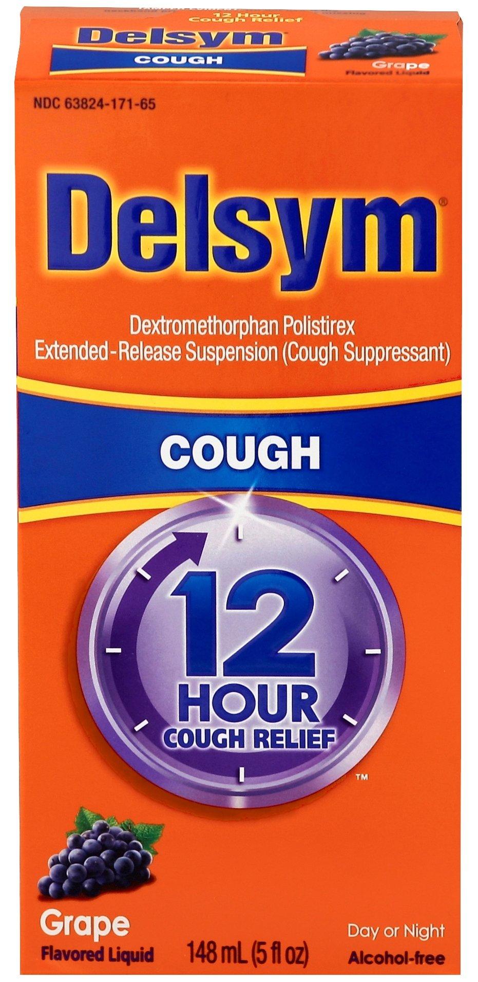 Delsym Adult 12 Hr Cough Relief Liquid, Grape, 5oz