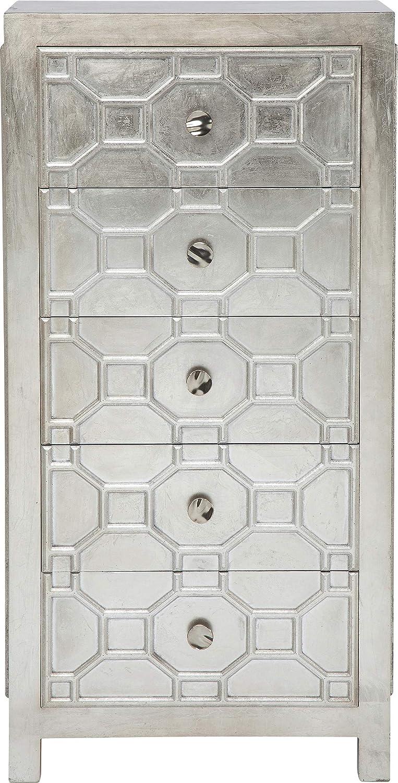 Kare Hochkommode Alhambra, Kleines, Schmales Sideboard, Wohnzimmer - Kommode mit 5 Schubladen, Silber lackierter Holzschrank, (H/B/T) 123x62x38cm