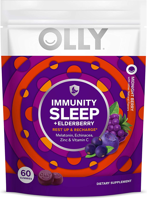 Olly Immunity Sleep Gummy, Melatonin, Elderberry, Echinacea, Zinc and Vitamin C, Chewable Supplement, Sleep Aid