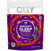 OLLY Immunity Sleep Gummy, Melatonin, Elderberry, Echinacea, Zinc and Vitamin C, Chewable Supplement, Sleep Aid, Berry Flavor, 30 Day Supply, 60 Count